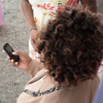 Woman with mobile phone in Africa