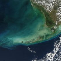 Turbid waters surround southern Florida and the Florida Keys in this true-color Moderate Resolution Imaging Spectroradiometer (MODIS) image taken by the Aqua satellite on December 2, 2003