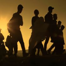 Abstract blur, bokeh, defocus - image for background. The refugees migrate to Europe