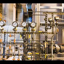 Pressure gauges in a water treatment plant