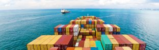 Cargo ships entering one of the busiest ports in the world, Singapore